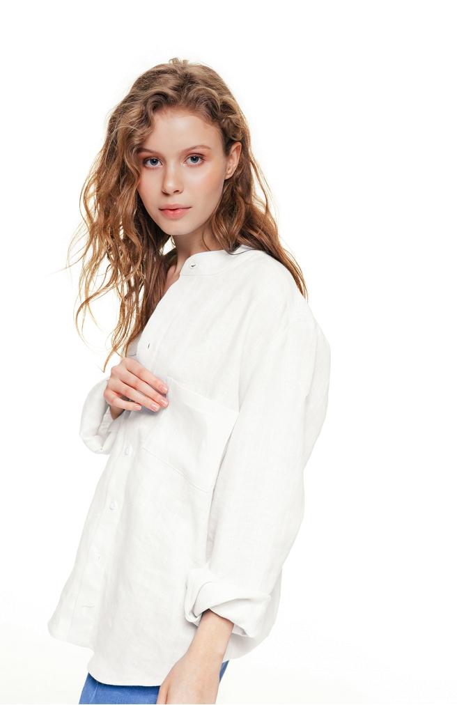 >Сорочка молочна унісекс з комірцем на ґудзиках