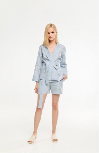 >Набір блакитний з льону з шортами