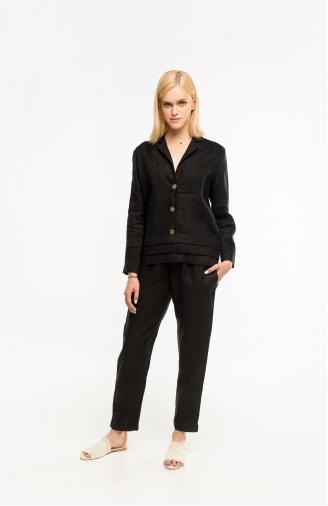 >Набір чорний жакет на ґудзиках і брюки з льону