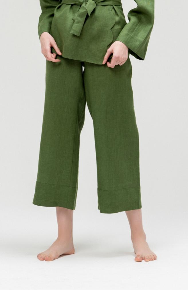 >Кюлоти зелені з льону