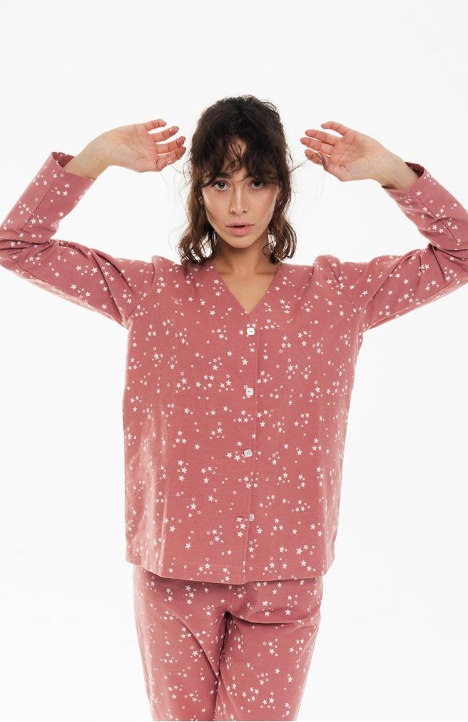 >Сорочка фланелева рожева в зірки