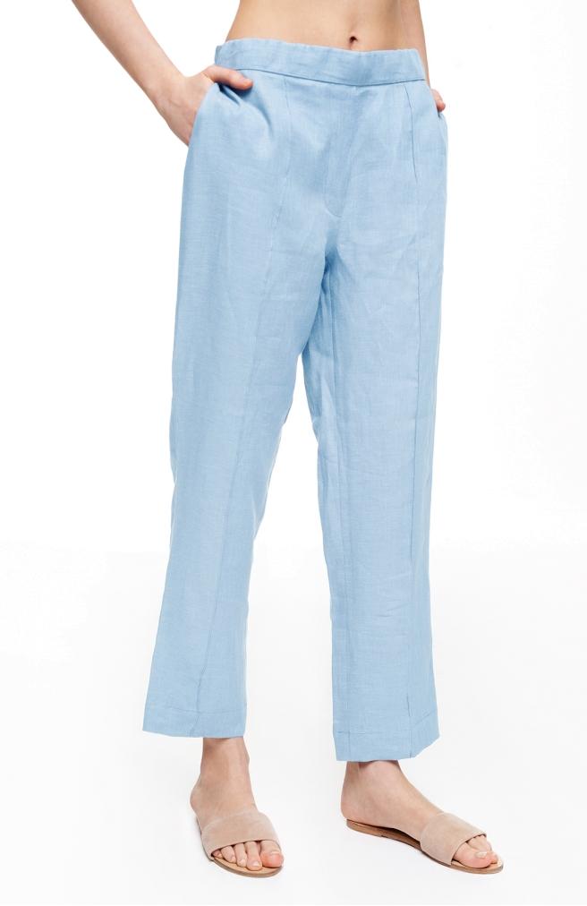 >Штани лляні прямі зі стрілкою блакитного кольору