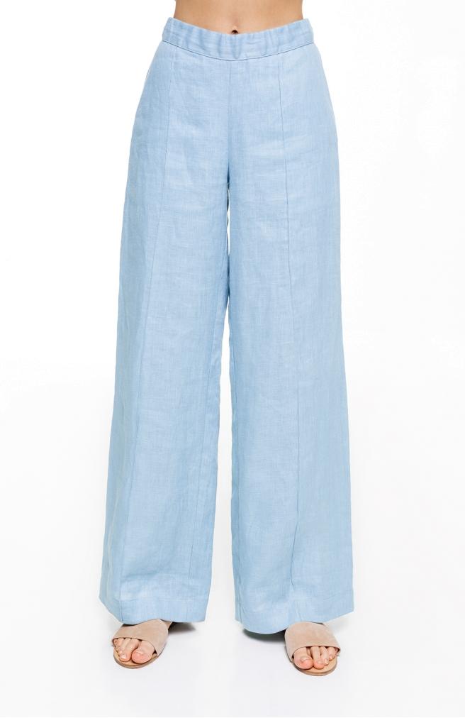 >Штани лляні кльош блакитного кольору