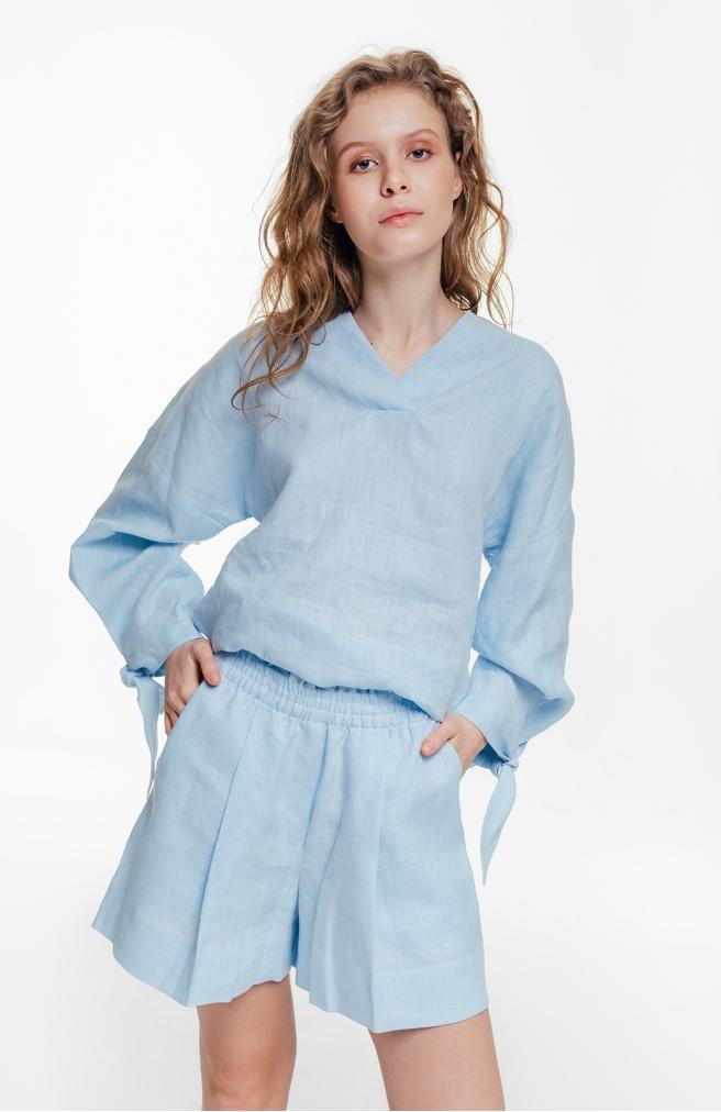 >Блуза лляна блакитна з об'ємними рукавами з зав'язками