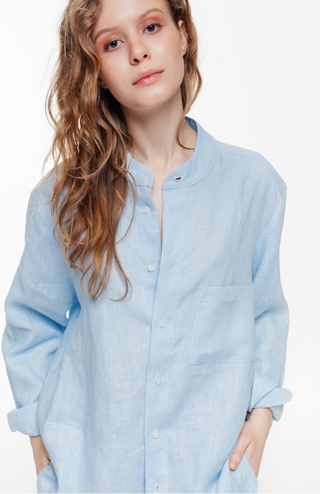 >Сорочка блакитна унісекс з комірцем на ґудзиках