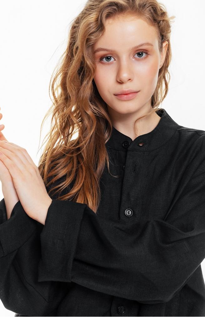 Сорочка чорна унісекс з комірцем на ґудзиках