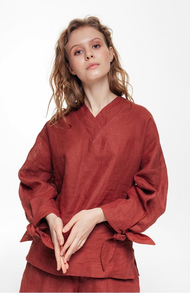 >Блуза лляна теракотова з об'ємними рукавами з зав'язками