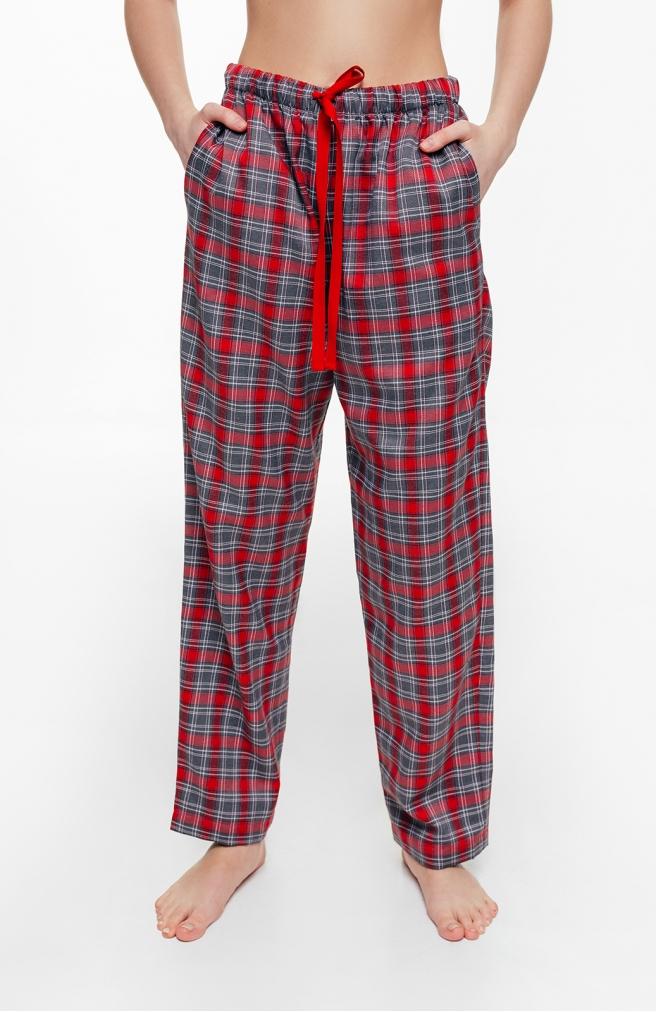 >Жіночі штани в червоно-сіру клітинку