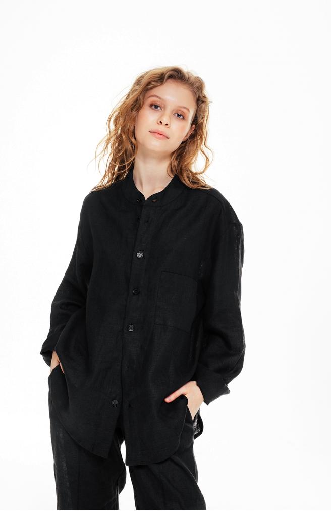 >Сорочка чорна унісекс з комірцем на ґудзиках