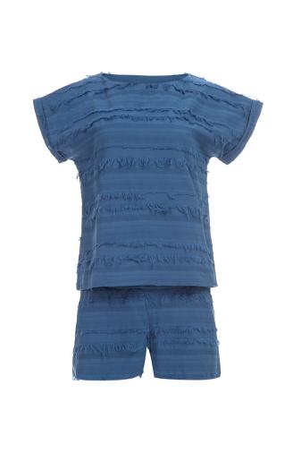 >Піжама синя бахрома
