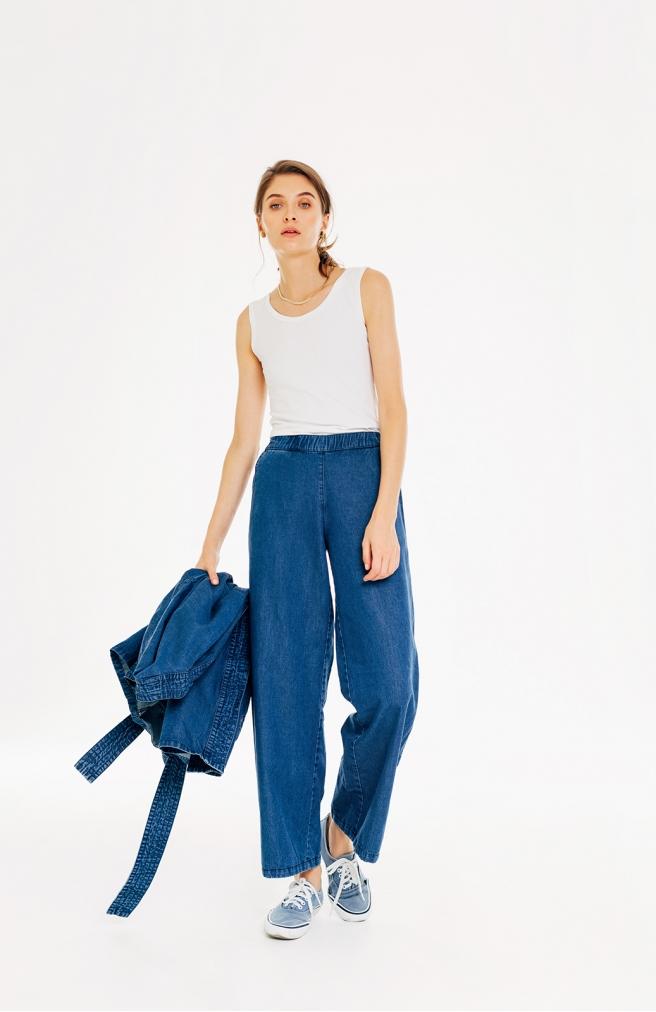 >Штани кльош з джинсу