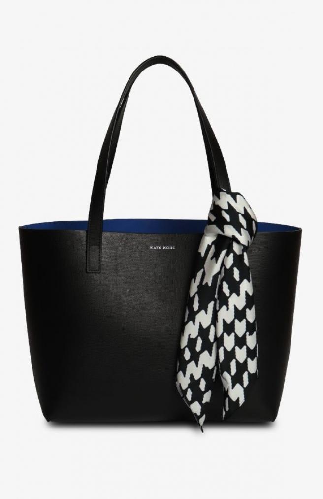 >Saffiano Tote Black/Blue