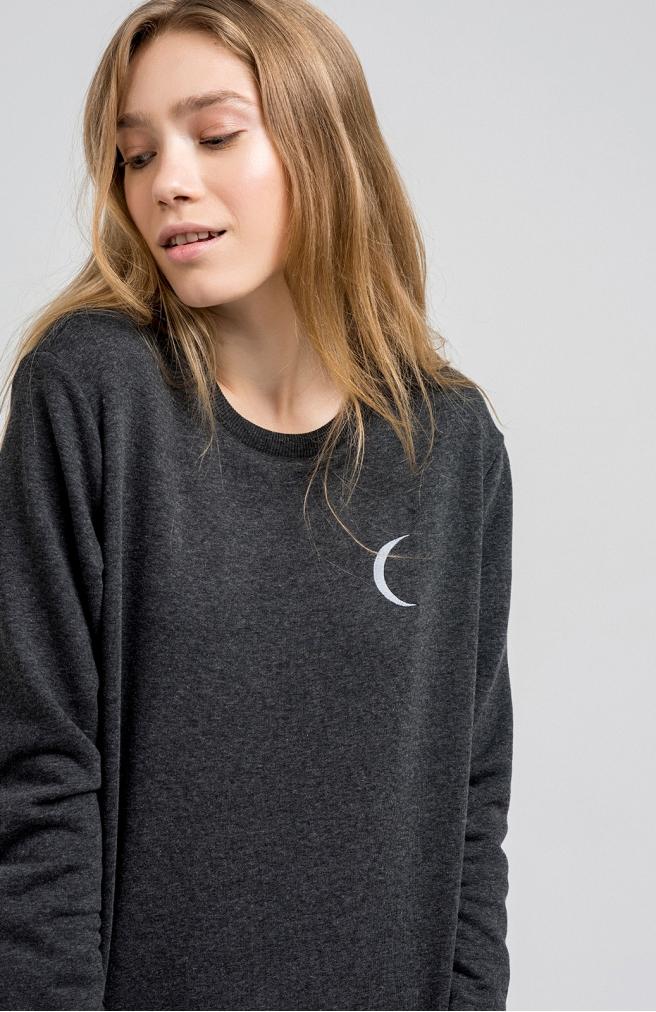 >Світшот темно-сірий з місяцем