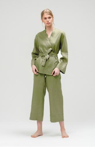 >Зелений набір з льону з кюлотами