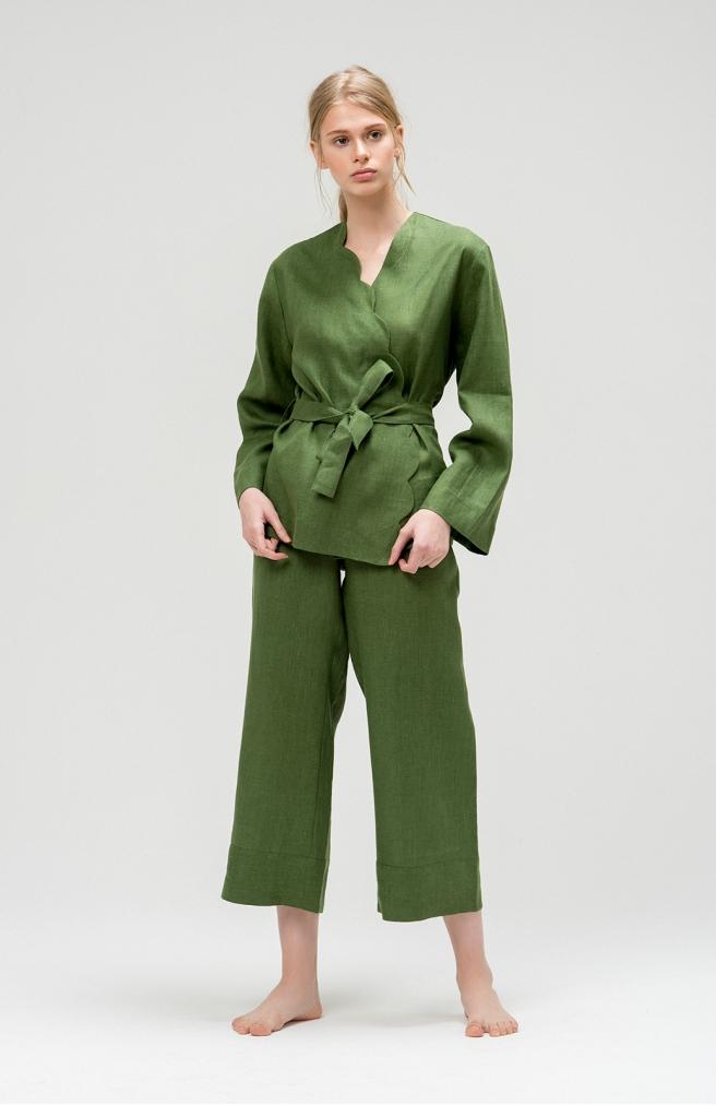 Кардиган зелений з льону з фігурним краєм