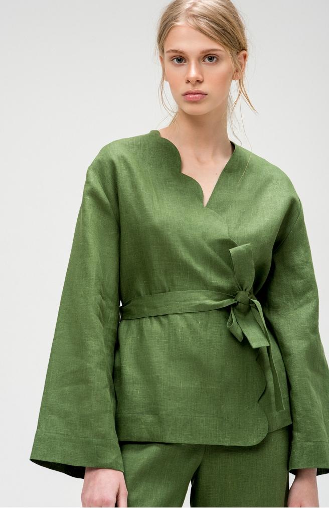 >Кардиган зелений з льону з фігурним краєм